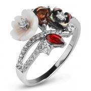 Серебряное кольцо Sandara с перламутром, раух-топазом, гранатом и фианитами