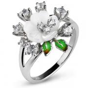 Серебряное кольцо Sandara с перламутром, топазом,  эмалью и фианитами
