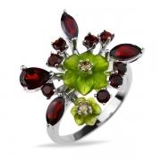 Серебряное кольцо Sandara с гранатом. фианитом и ювелирной смолой