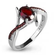 Серебряное кольцо Karluv Most с гранатами и черным родированием
