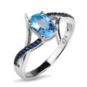 Серебряное кольцо Sandara с топазом и нанотопазами Лондон