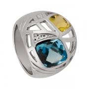 Серебряное  кольцо Sandara Luxe с топазом и цитрином