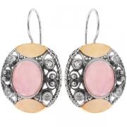 Серебряные серьги Yaffo с золотом, розовым кварцем и фианитом