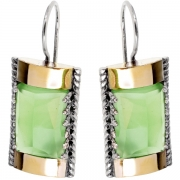 Серебряные серьги Yaffo с золотом и зеленым кварцем
