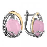 Серебряные серьги Yaffo с золотом и розовым кварцем