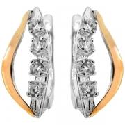 Серебряные серьги Yaffo с золотом и фианитом