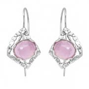 Серебряные серьги Yaffo с розовым кварцем