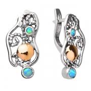 Серебряные серьги Yaffo с синт. опалом и золотом