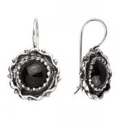 Серебряные серьги Yaffo с черным ониксом