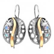 Серебряные серьги Yaffo с золотом и опалом