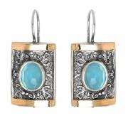 Серебряные серьги Yaffo с золотом и кварцем