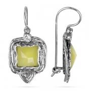 Серебряные серьги Yaffo с лимонным кварцем и фианитом