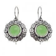 Серебряные серьги Yaffo с зеленым кварцем