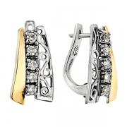 Серебряные серьги Yaffo с фианитами и золотом