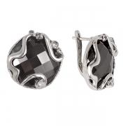 Серебряные серьги Yaffo с гематитом и фианитами