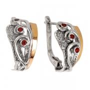 Серебряные серьги Yaffo с гранатами и золотом