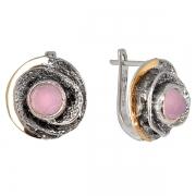 Серебряные серьги Yaffo с розовым кварцем и золотом