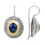 Серебряные серьги Yaffo с лазуритом и золотом