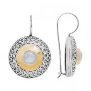 Серебряные серьги Yaffo с лунным камнем
