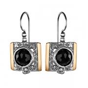 Серебряные серьги Yaffo с черным ониксом и золотом