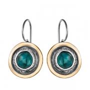 Серебряные серьги Yaffo с бирюзой и золотом