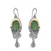 Серебряные серьги Yaffo с зеленым кварцем и золотом