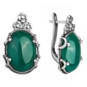 Серебряные серьги Yaffo с зеленым агатом