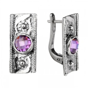 Серебряные серьги Yaffo с фианитом цвета Аметист