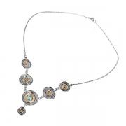 Серебряное колье Yaffo с опалом синтетическим и золотом