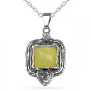 Серебряный кулон Yaffo с лимонным кварцем и фианитом