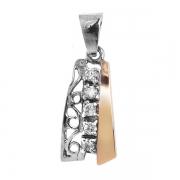 Серебряный кулон Yaffo с фианитами и золотом