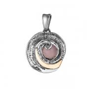 Серебряный кулон Yaffo с розовым кварцем и золотом
