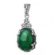 Серебряный кулон Yaffo с зеленым агатом