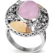 Серебряное кольцо Yaffo с золотом, розовым кварцем и фианитом