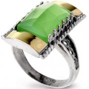 Серебряное кольцо Yaffo с золотом и зеленым кварцем