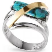 Серебряное кольцо Yaffo с золотом и бирюзой