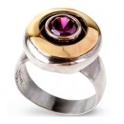 Серебряное кольцо Yaffo с золотом и аметистом
