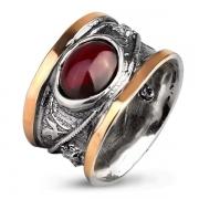 Серебряное кольцо Yaffo с гранатом, фианитом и золотом
