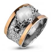 Серебряное кольцо Yaffo с лунным камнем, фианитом и золотом