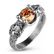 Серебряное кольцо Yaffo с фианитом цвета Цитрин