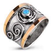 Серебряное кольцо Yaffo с синт. опалом и и золотом