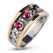Серебряное кольцо Yaffo с гранатоми золотом