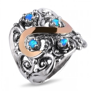 Серебряное кольцо Yaffo с синт. опалом и золотом