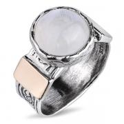 Серебряное кольцо Yaffo с лунным камнем и золотом