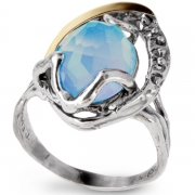 Серебряное кольцо Yaffo с золотом и голубым кварцем