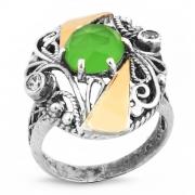 Серебряное кольцо Yaffo с золотом, фианитом и кварцем