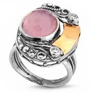 Серебряное кольцо Yaffo с золотом, фианитом  и розовым кварцем