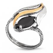 Серебряное кольцо Yaffo с золотом и фианитом