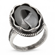 Серебряное кольцо Yaffo с гематитом