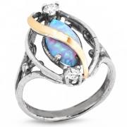 Серебряное кольцо Yaffo с золотом, фианитами и опалом